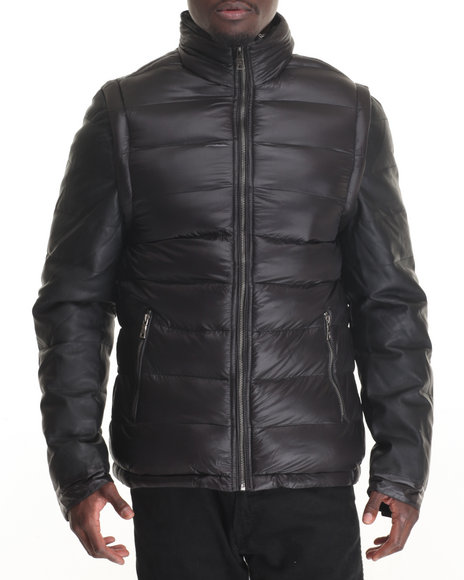 Buyers Picks - Men Black Marqt Mixed Media Quilted Nylon Jacket