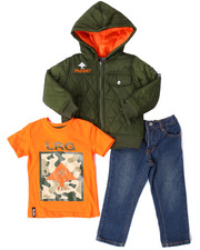 LRG - 3 PC SET - QUILTED HOODED JACKET, TEE, & JEANS (2T-4T)