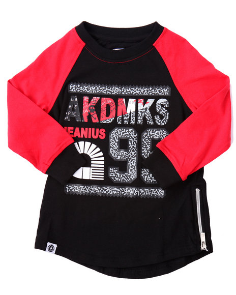 Akademiks - Boys Black Elongated L/S Elephant Print Logo Tee (2T-4T)
