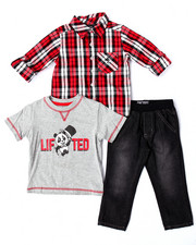 LRG - 3 PC SET - PLAID WOVEN, TEE, & JEANS (2T-4T)