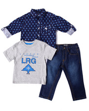 LRG - 3 PC SET - PRINTED WOVEN, TEE, & JEANS (2T-4T)