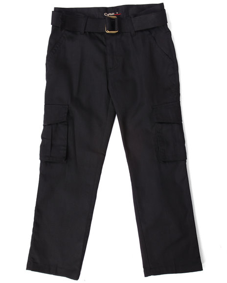 Arcade Styles - Boys Black Belted Cargo Pants (8-20)