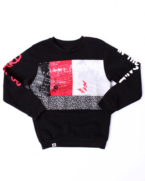 Akademiks - Boys Black Cut & Sew Go Hard Sweatshirt (8-20)