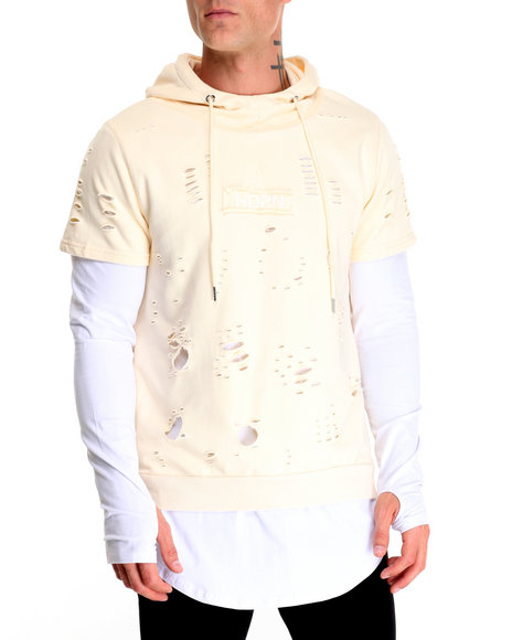 Hudson Nyc - Men Beige Holy Land Layered Pullover Hoodie