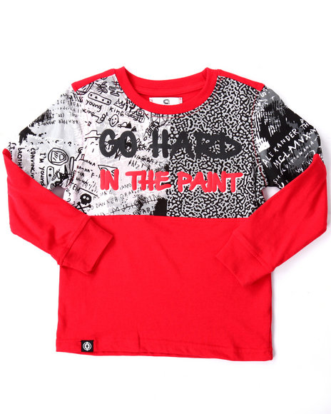 Akademiks - Boys Red L/S Cut & Sew Go Hard Tee (4-7)