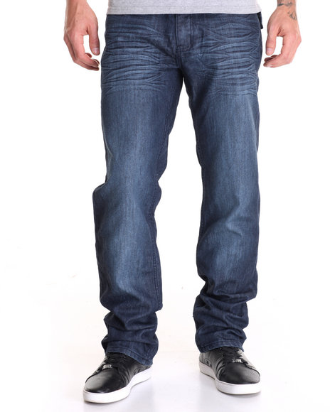 Monarchy - Men Dark Wash Granite - Tint Flap - Pocket Coated Denim Jeans