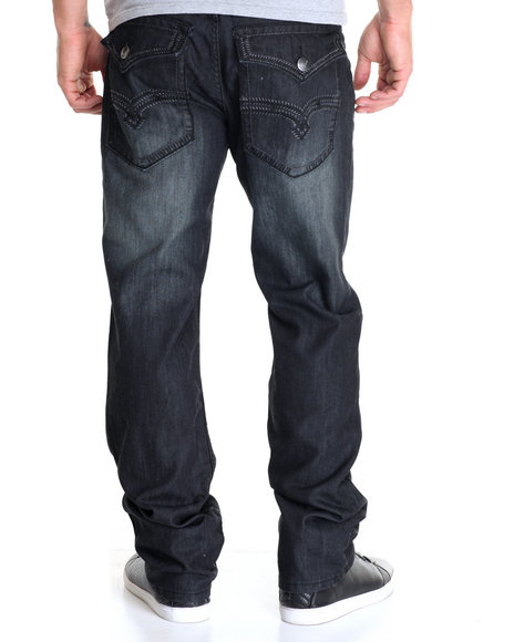 Basic Essentials - Men Black Night Mercerized Flap - Pocket Denim Jeans