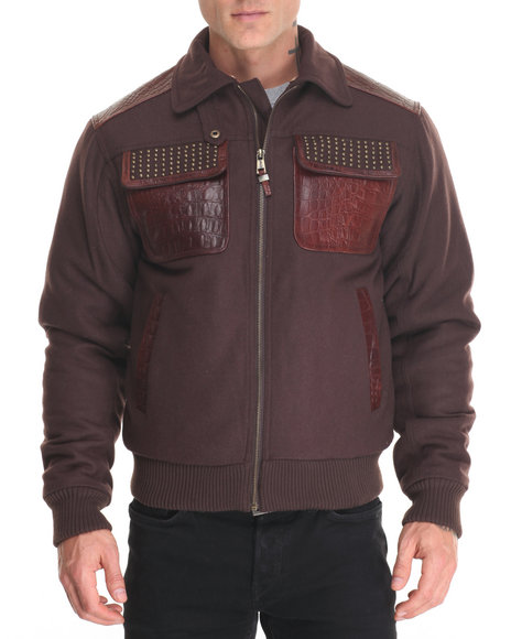 Pelle Pelle Leathers - Men Brown Studded Gator Wool Jacket