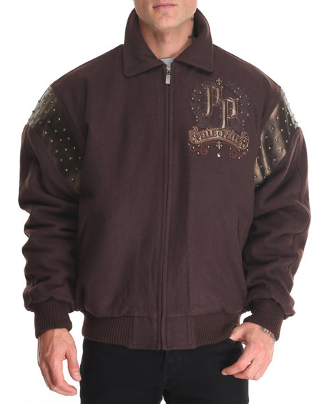 Pelle Pelle Leathers - Men Brown Live Like A King Wool Jacket
