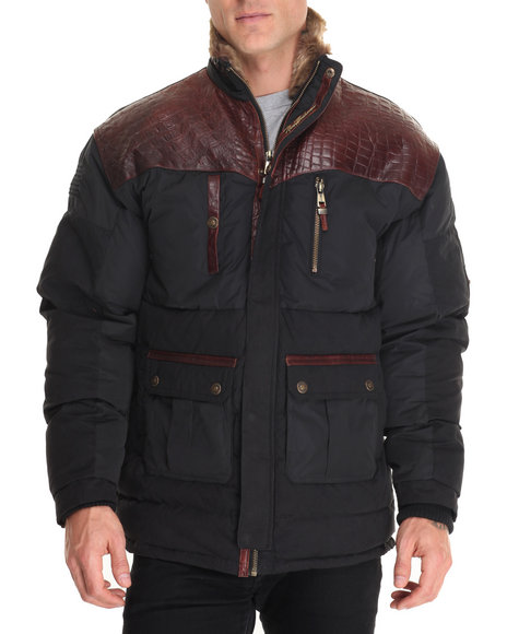Pelle Pelle Leathers - Men Black Pinnacle Faux Fur Parka