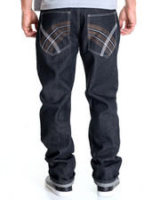 Men - Belted Raw Denim Jeans