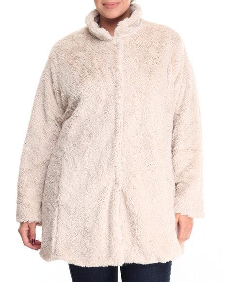 "Steve Madden - Women Cream 30"" Faux Fur Boyfriend Coat (Plus Size)"