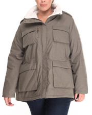 "Steve Madden - Nylon Cotton 30"" Utility Jacket w/ Fur Trim Lining (Plus size)"