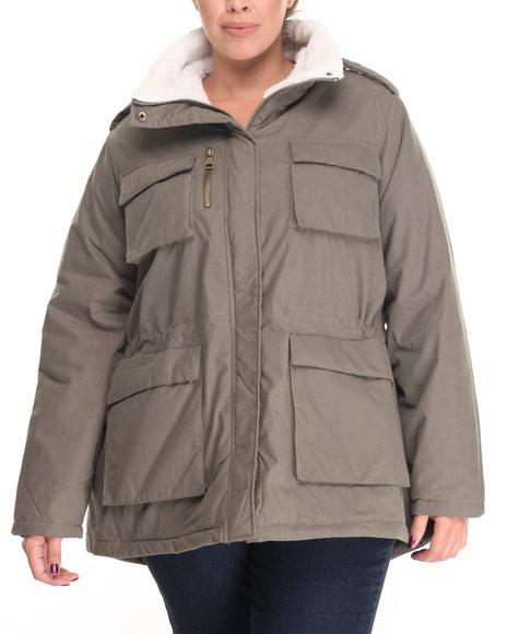 "Steve Madden - Women Olive Nylon Cotton 30"" Utility Jacket W/ Fur Trim Lining (Plus Size)"
