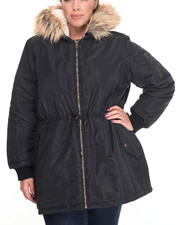 "Outerwear - Nylon 33"" Anorack w/ Fur Trim Hood (Plus size)"