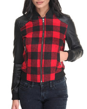 Light Jackets - Buffalo Check Quilted Vegan Leather Trim Jacket