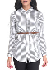 Tops - Cotton Spandex Belted Striped Tunic Top