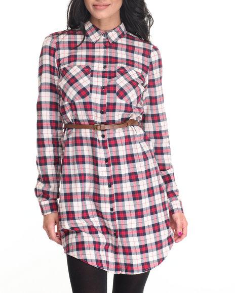 Cotton Express - Women Red,White Yarn Dye Cotton Plaid Shirt Dress - $25.99