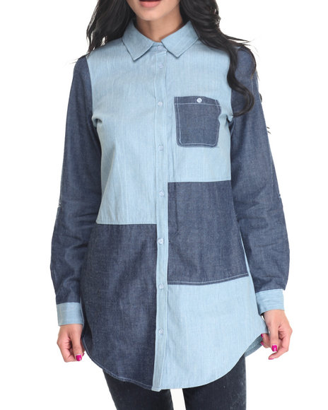 Cotton Express - Women Medium Wash Colorblock Denim L/S Tunic Shirt