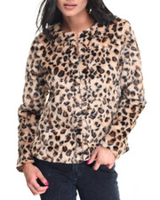 Light Jackets - Leopard Print Faux Fur Coat