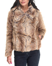 Light Jackets - Shirt Collar Faux Fur Coat