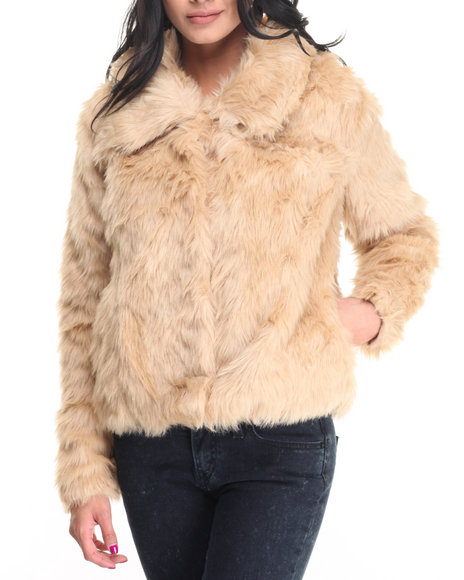 Cotton Express - Women Cream Shirt Collar Faux Fur Coat