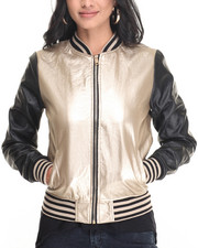 Light Jackets - Metallic Bomber Vegan Leather Jacket