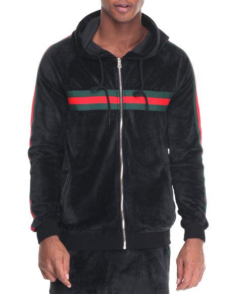 Hudson Nyc - Men Black Dapper Velour Zip - Up Hoodie