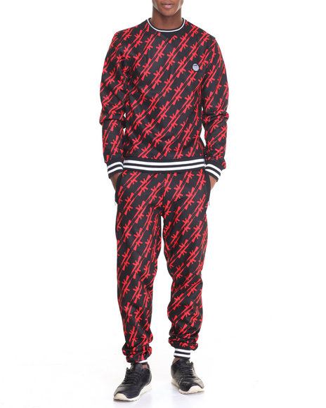 Buyers Picks - Men Red Streetz Iz Watching A K - 47 Fleece Set