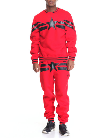 Buyers Picks - Men Red Streetz Iz Watching Capt A Fleece Set