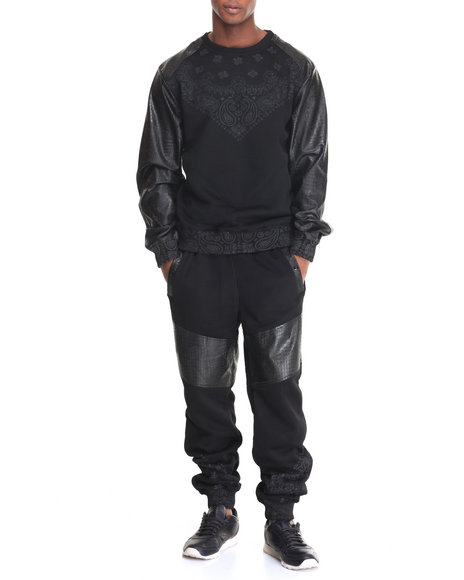 Buyers Picks - Men Black First Class Bandana - Print Fleece Set