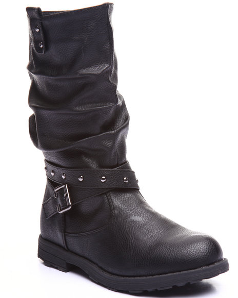 La Galleria - Girls Black Slouch Stud Wrap Boots (11-4)