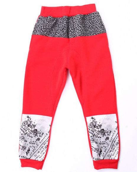 Akademiks - Boys Red Cut & Sew Elephant Print Joggers (8-20)