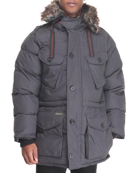 Basic Essentials - Men Charcoal Appalachian 3/4 Multi - Pocket Snorkel Coat