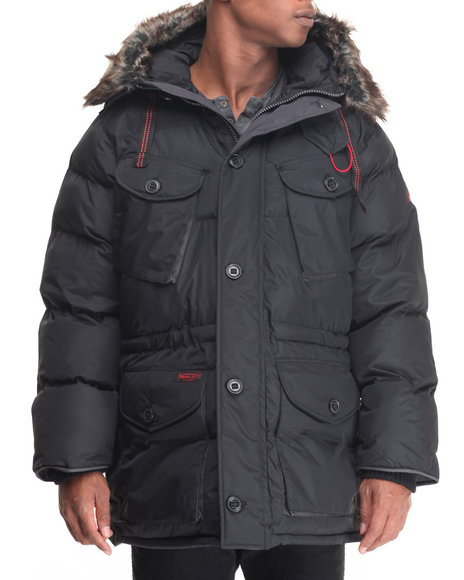 Basic Essentials - Men Black Appalachian 3/4 Multi - Pocket Snorkel Coat