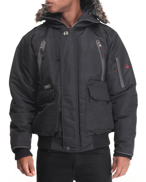 Basic Essentials - Men Black Everest 80/20 Down Filled Snorkel Bomber