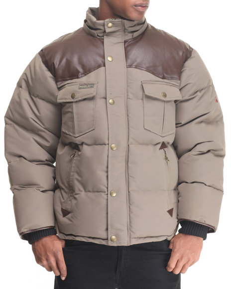 Basic Essentials - Men Brown,Olive Beef Cake Mix - Media Quilted Jacket