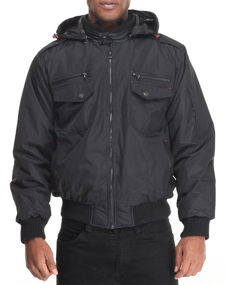 Basic Essentials - Men Black Dumonti Hooded Lined Nylon Jacket