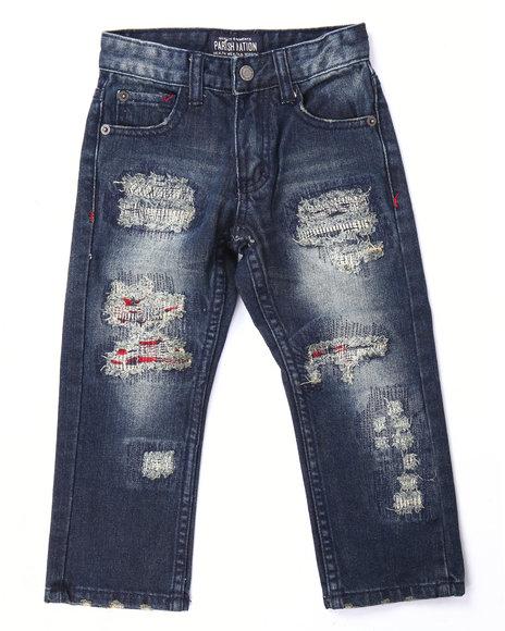 Parish - Boys Medium Wash Rip & Tear Arktik Plaid Jeans (4-7)