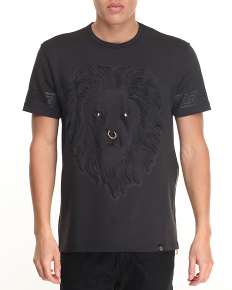 Hudson Nyc - Men Black Embossed Lion Face S/S Tee