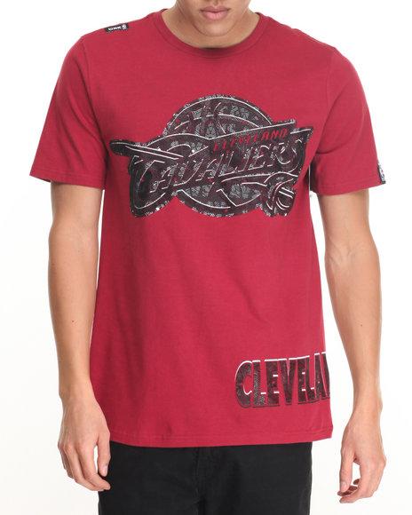 Nba, Mlb, Nfl Gear - Men Maroon Cleveland Cavaliers  Mosaic S/S Tee
