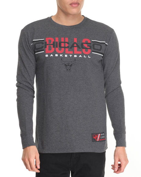 Nba, Mlb, Nfl Gear - Men Charcoal Chicago Bulls Rise Above L/S Thermal