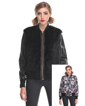-FEATURES- - FLORAL AVE  Faux Fur REVERSE JKT