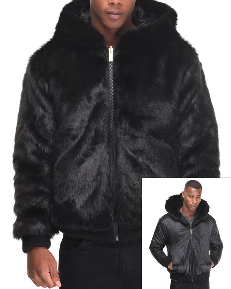 Buyers Picks - Men Black Faux Mink Reversible Zip Hoodie