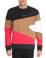 Men - Y Stripe Multi - Panel Crewneck Sweatshirt
