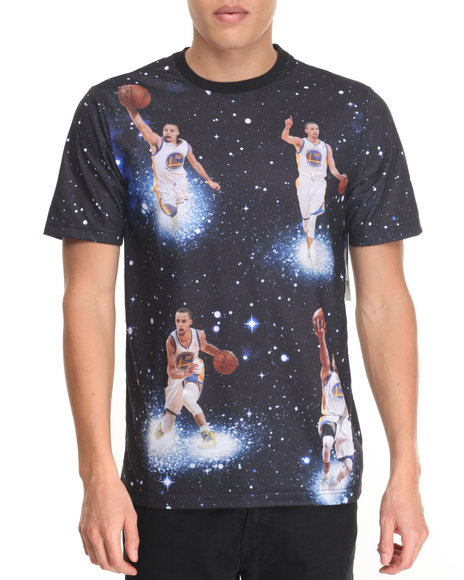 Nba, Mlb, Nfl Gear - Men Black Stephen Curry Space Invader Sublimated S/S Tee