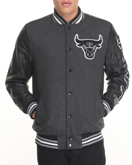 Nba, Mlb, Nfl Gear - Men Charcoal Chicago Bulls Scorch Wool Varsity Jacket