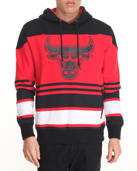 Nba, Mlb, Nfl Gear - Men Black Chicago Bulls Hockey Stripe Pullover Hoodie