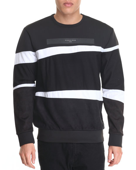 Vie + Riche - Men Black Tri - Paneled Multi - Media Crewneck Sweatshirt