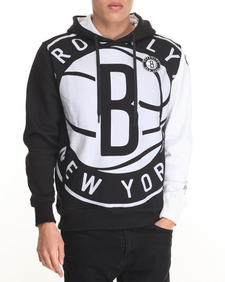 Nba, Mlb, Nfl Gear - Men Black Brooklyn Nets Pullover Hoodie